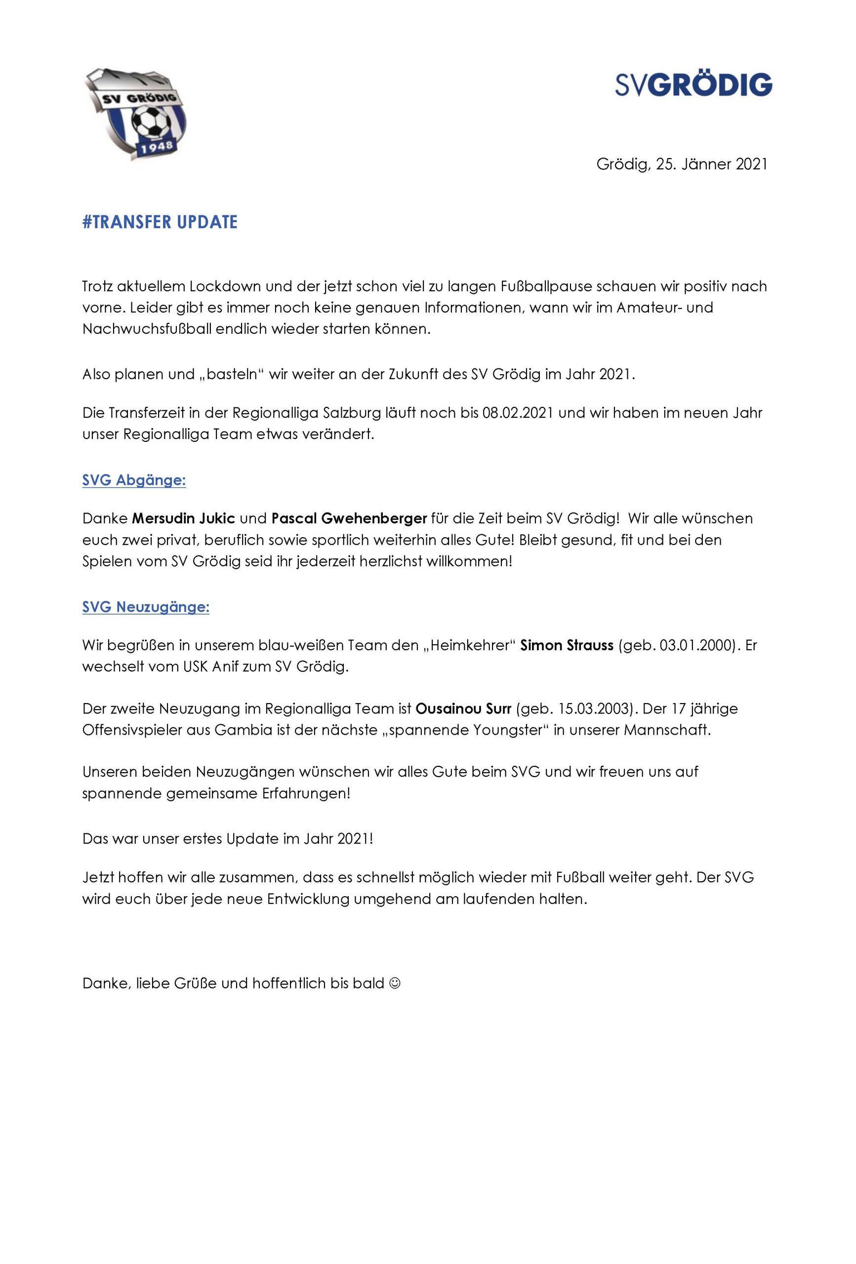 SV Groedig Transfer Update